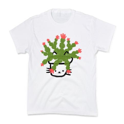 Christmas Cactus Cat Kids T-Shirt