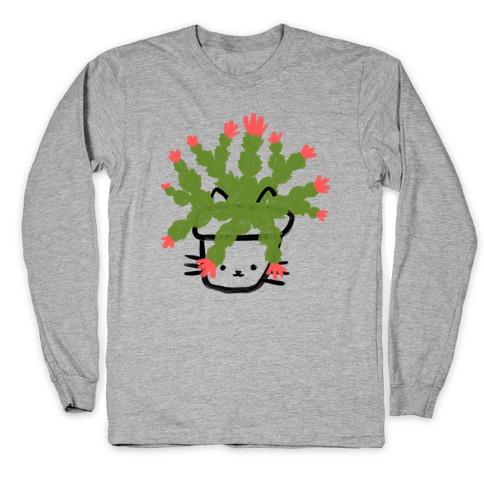 Christmas Cactus Cat Long Sleeve T-Shirt