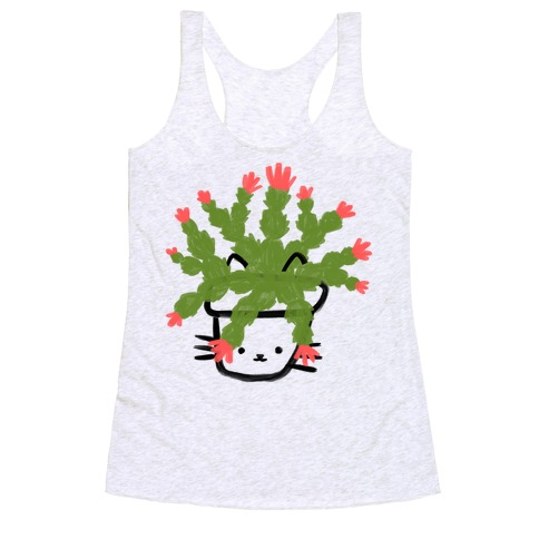 Christmas Cactus Cat Racerback Tank Top