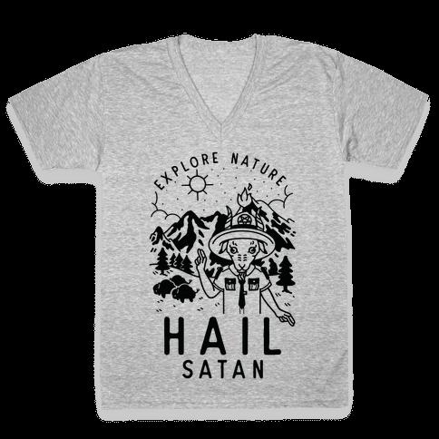 Explore Nature Hail Satan V-Neck Tee Shirt