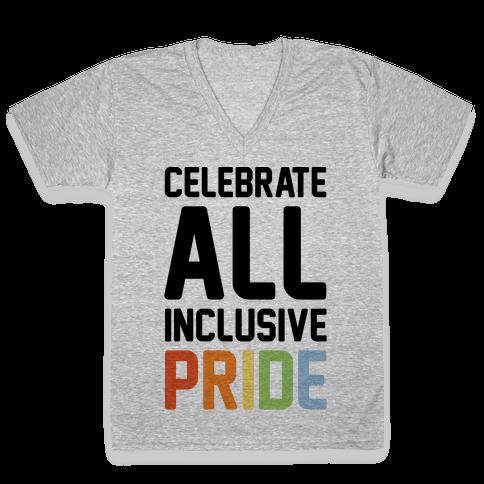 Celebrate All Inclusive Pride V-Neck Tee Shirt