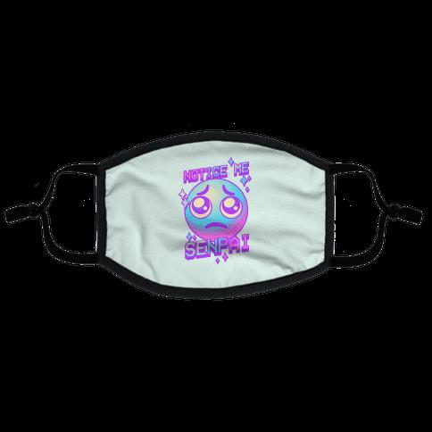 Notice Me Senpai Vaporwave Emoji Flat Face Mask