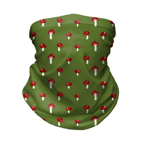 Dainty Mushroom Pattern Green Neck Gaiter