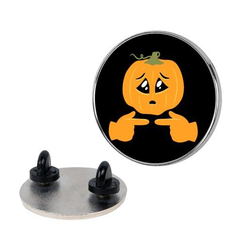 Shy Emoji Jack-o-Lantern Pin