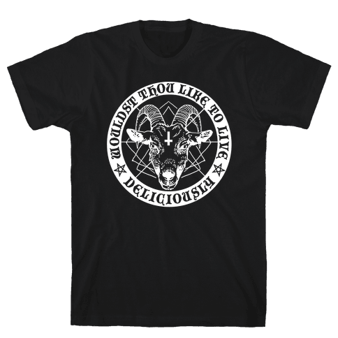 Black Philip: Wouldst Thou Like To Live Deliciously Mens T-Shirt