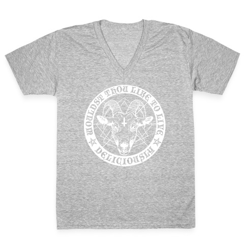 Black Philip: Wouldst Thou Like To Live Deliciously V-Neck Tee Shirt