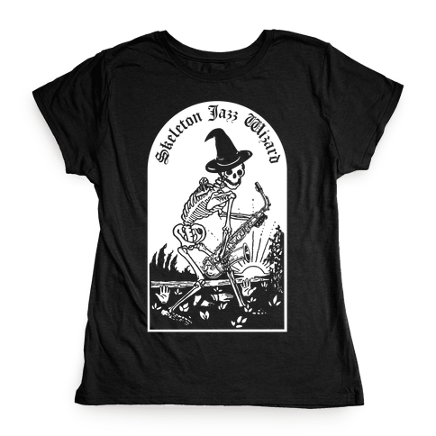 Skeleton Jazz Wizard Womens T-Shirt