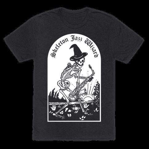 Skeleton Jazz Wizard Mens T-Shirt