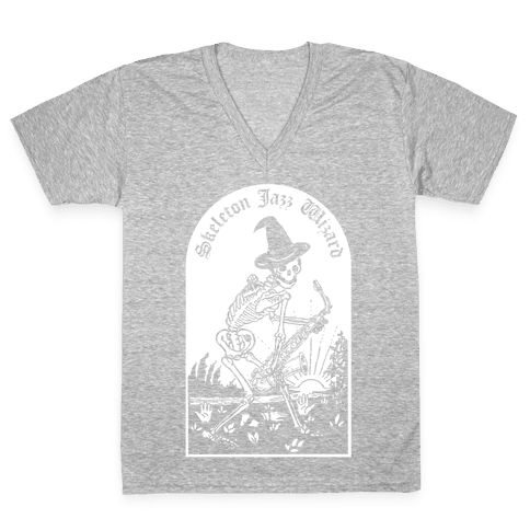 Skeleton Jazz Wizard V-Neck Tee Shirt