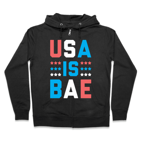 USA is BAE (White) Zip Hoodie