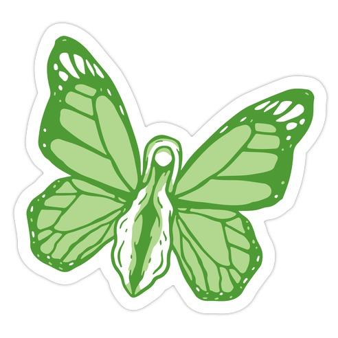 Green Butterfly Vagina Die Cut Sticker