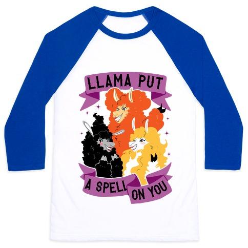 Llama Put A Spell On You Baseball Tee