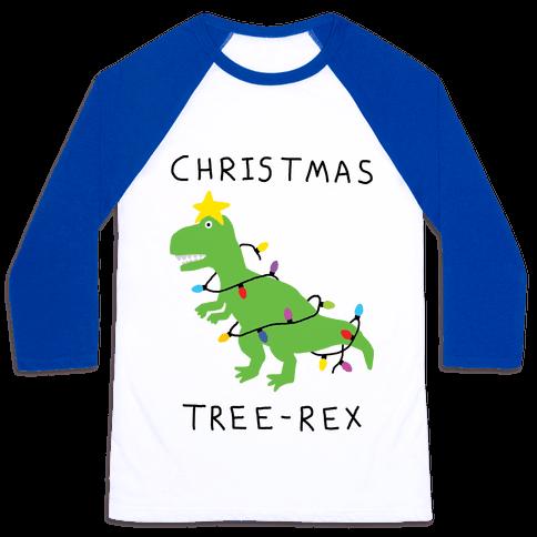 Christmas Tree Rex Baseball Tee