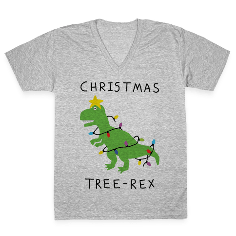 Christmas Tree Rex V-Neck Tee Shirt
