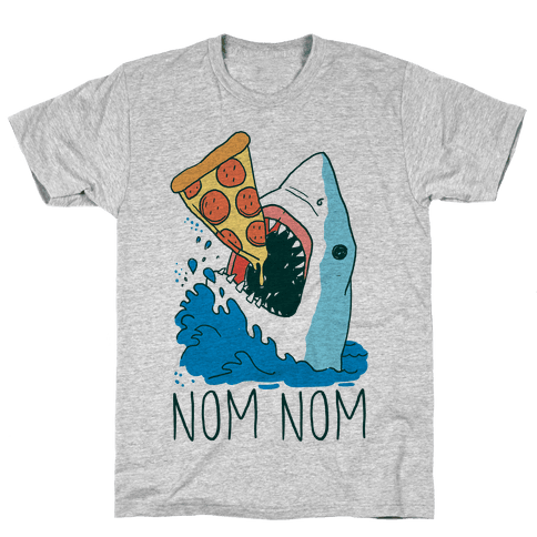 Nom Nom Pizza Shark  Mens T-Shirt