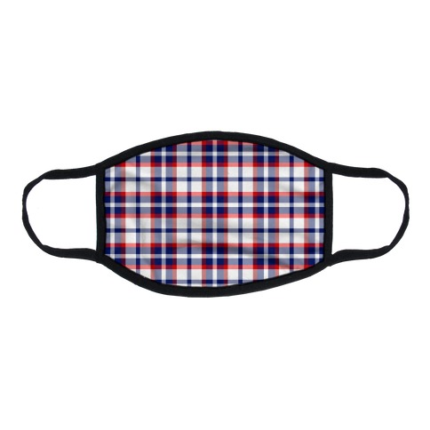 Red white and blue Plaid Flat Face Mask