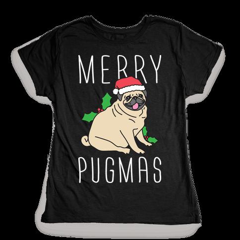 Merry Pugmas Womens T-Shirt