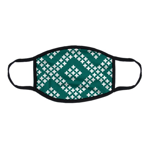 Little Cross Pattern Teal Flat Face Mask
