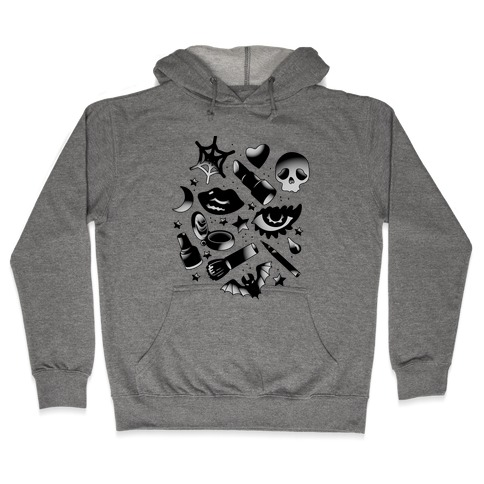 Goth Makeup Pattern Hooded Sweatshirt