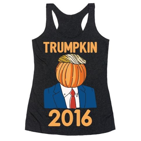 Trumpkin 2016 White Print Racerback Tank Top