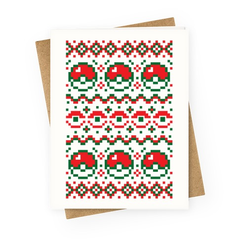 Pokeball Ugly Christmas Sweater Pattern Greeting Card