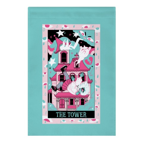 Creepy Cute Tarots: The Tower Haunted House Garden Flag