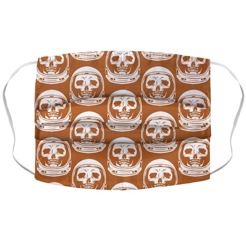 Skulls in Astronaut Pattern Rust Orange Accordion Face Mask