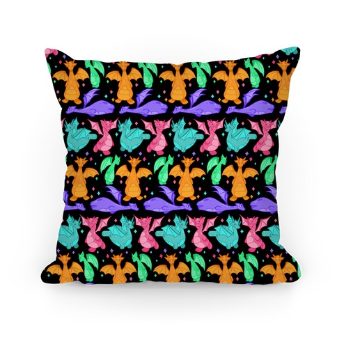 Colorful Dragons Pillow