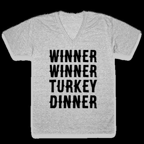 Winner Winner Turkey Dinner V-Neck Tee Shirt
