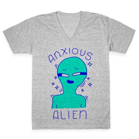 Anxious Alien V-Neck Tee Shirt