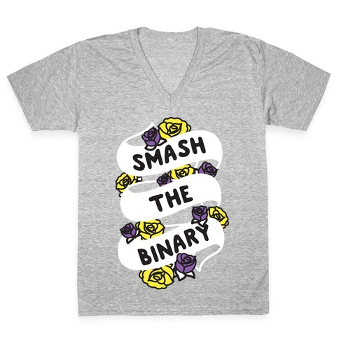 Smash The Binary Ribbon V-Neck Tee Shirt