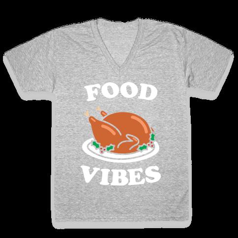 Food Vibes (White) V-Neck Tee Shirt
