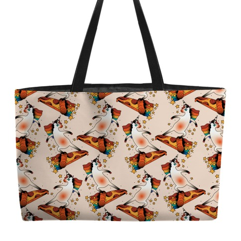 Rad Unicorn Skateboarding a Pizza Tattoo Weekender Tote