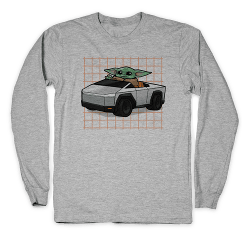 Baby Yoda in a Cyber Truck Long Sleeve T-Shirt