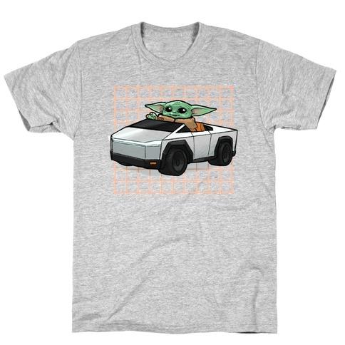 Baby Yoda in a Cyber Truck T-Shirt