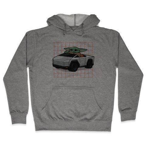 Baby Yoda in a Cyber Truck Hooded Sweatshirt