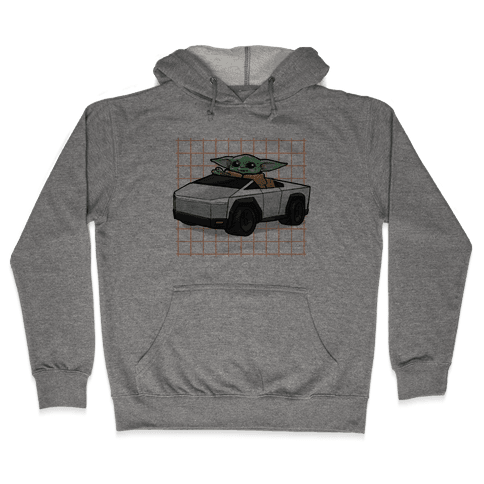 Baby Yoda in a Cyber Truck Hooded Sweatshirt