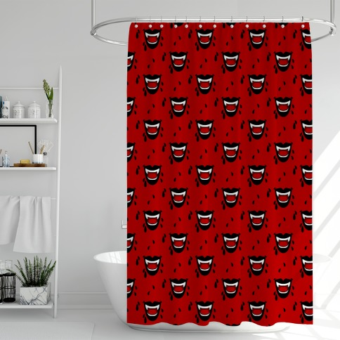 Black Vampire Lips Pattern Shower Curtain