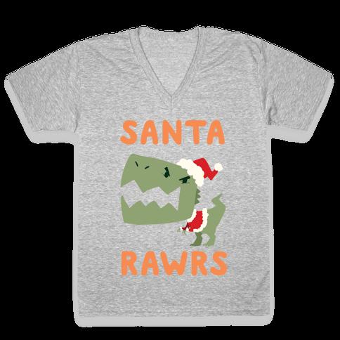 Santa RAWRS! V-Neck Tee Shirt