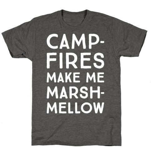 Campfires Make Me Marshmellow White Print T-Shirt