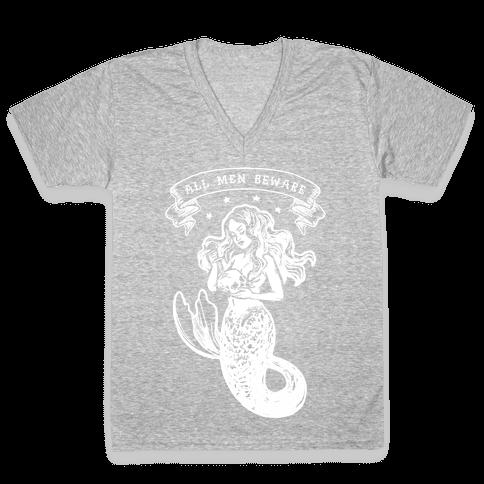 All Men Beware Vintage Mermaid V-Neck Tee Shirt