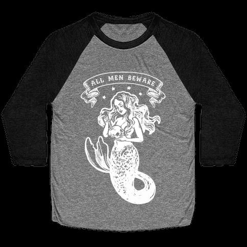 All Men Beware Vintage Mermaid Baseball Tee
