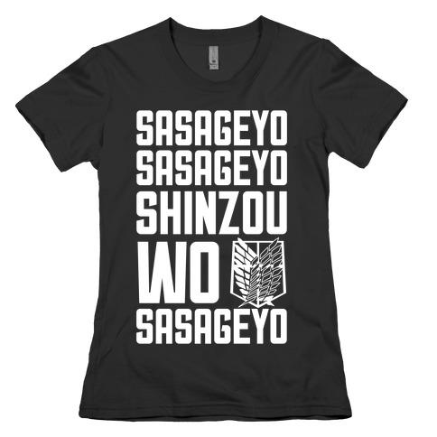 Sasageyo Sasageyo Shinzou Wo Sasageyo Womens T-Shirt