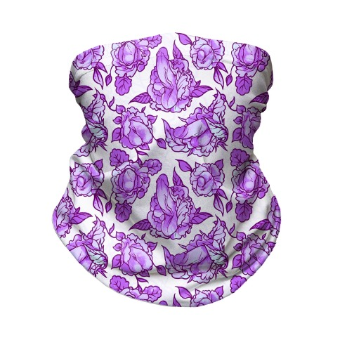 Floral Penis Pattern Purple Neck Gaiter