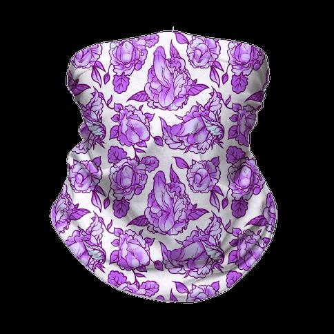 Floral Penis Pattern Purple Neck Gaiter