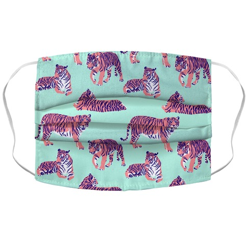 Tiger Pattern Pink and Bright Blue Accordion Face Mask