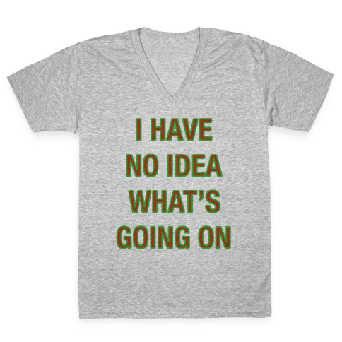 I Have No Idea What's Going On  V-Neck Tee Shirt