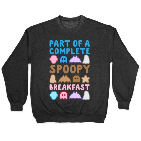 Part Of A Complete Spoopy Breakfast White Print Pullover