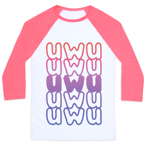 UWU Anime Emoticon Face Baseball Tee