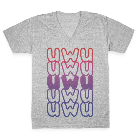 UWU Anime Emoticon Face V-Neck Tee Shirt
